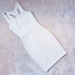 AKIRA white Textured mini dress